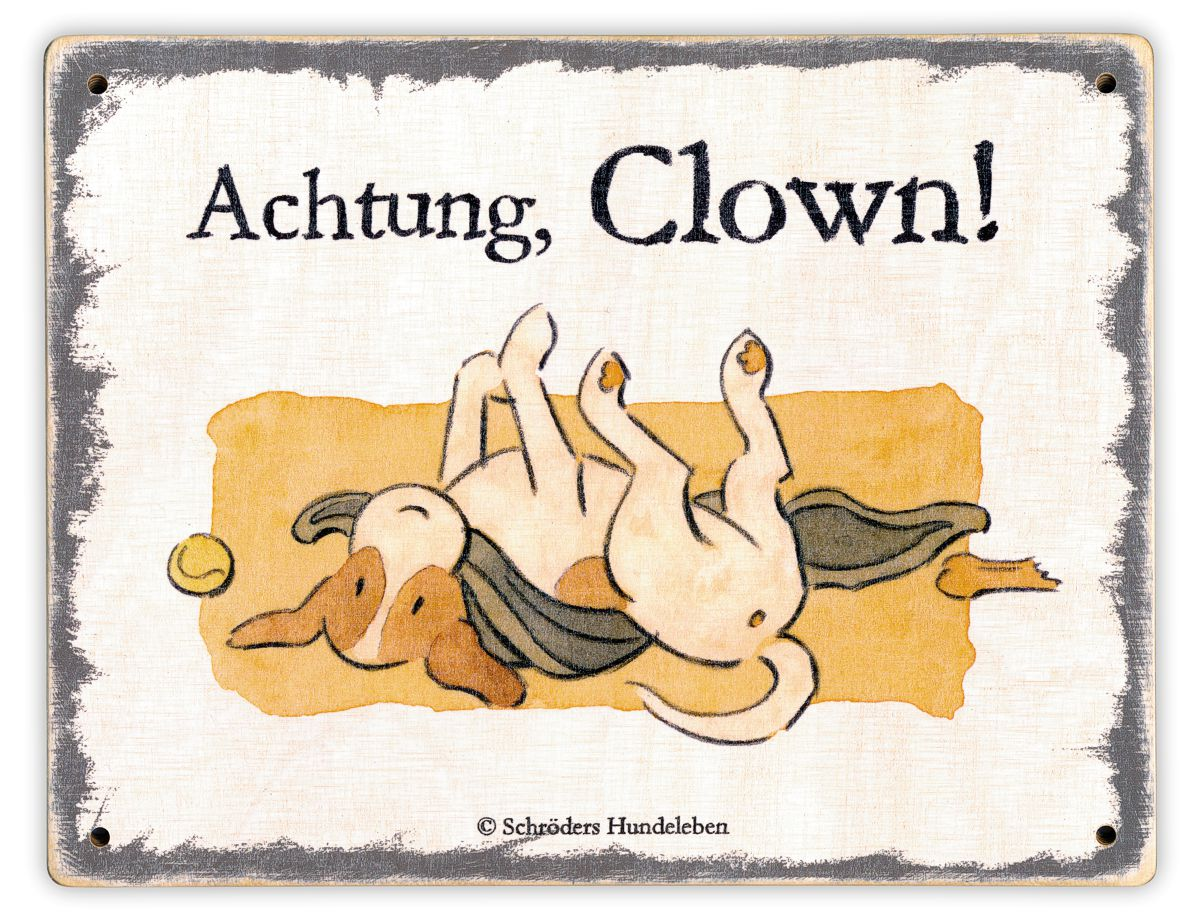 Hundeschild Achtung, Clown! Schild Hund Holz shabby lustig witzig wetterfest