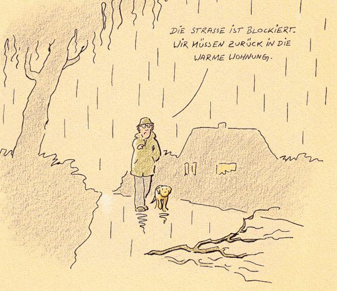 Hunde-Cartoon-Comic Labrador Gassi gehen auf Schilderhund Hundeschilder