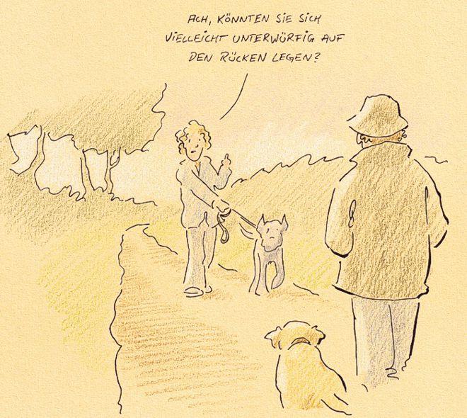 Hunde-Cartoon-Comic Deutsche Dogge Labrador Hinweis Warnung gefährlich auf Schilderhund Hundeschilder
