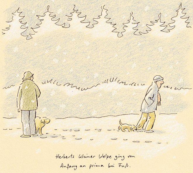 Hunde-Cartoon-Comic Welpe beißen und bei Fuß gehen auf Schilderhund Hundeschilder