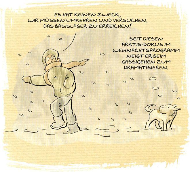 Hunde-Cartoon-Comic Spaziergang Gassi gehen Schnee lustig auf Schilderhund Hundeschilder