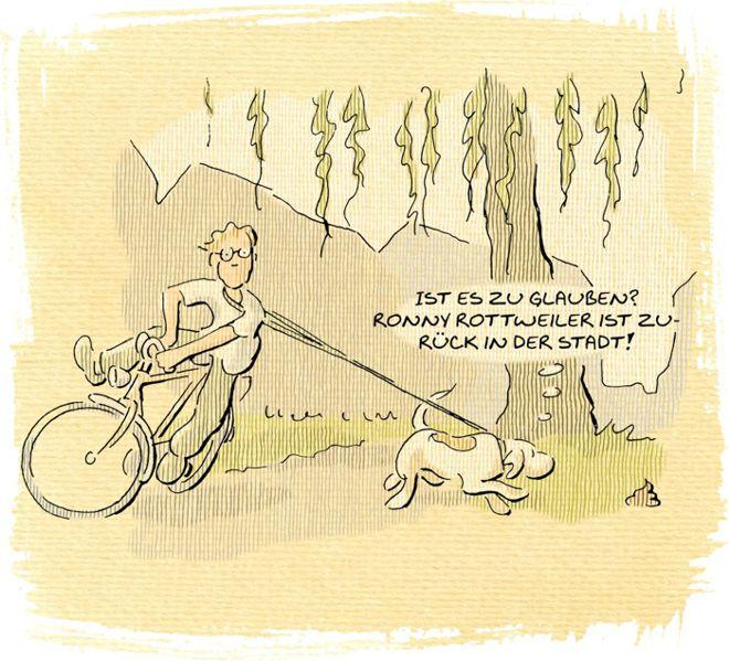 Hunde-Cartoon-Comic Hundekot und Fahrrad witzig auf Schilderhund Hundeschilder