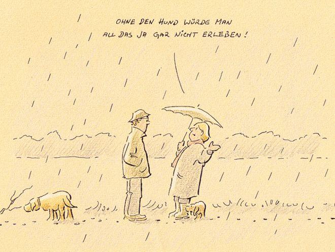 Hunde-Cartoon-Comic Regen Gassi Begegnung Dackel auf Schilderhund Hundeschilder