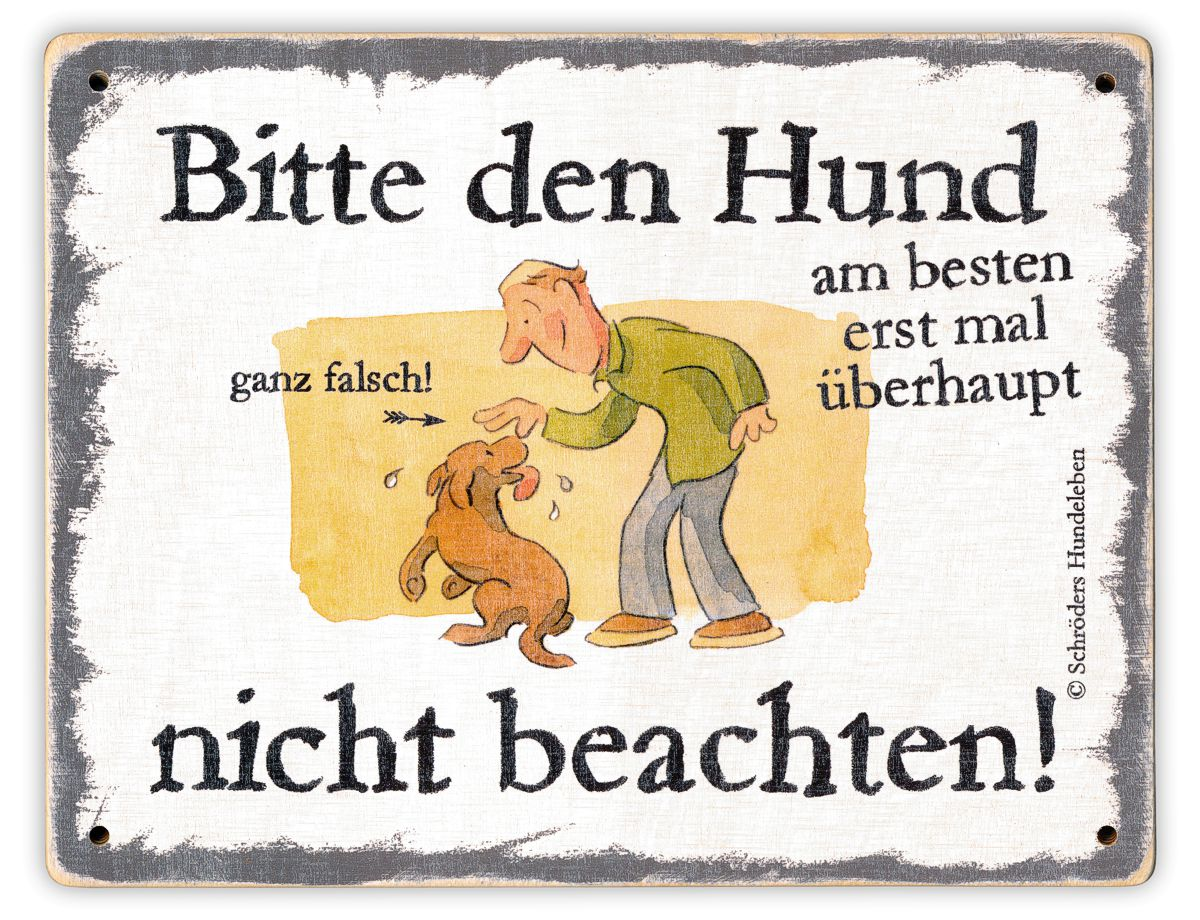 Hundeschild Hund nicht beachten! Schild Hund Holz shabby lustig witzig wetterfest