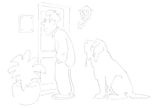 witzige Hunde-Cartoon-Zeichnung für ein Hundeschild
