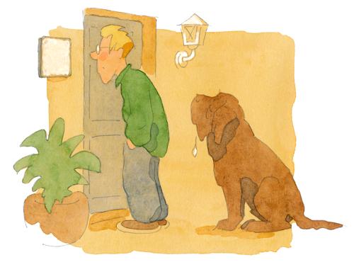 farbig koloriertes Hundemotiv für ein Hunde-Schild