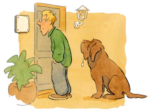 fertige Hunde-Comic-Zeichnung für ein Schild