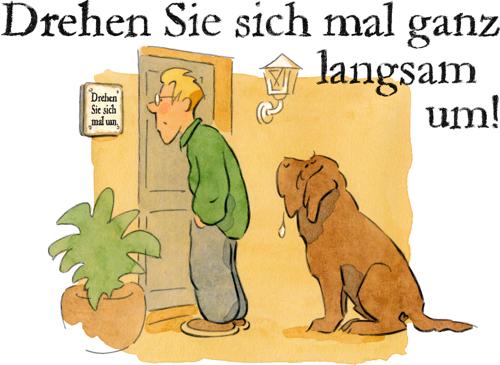 Motiv mit Text für ein lustiges Hundewarnschild