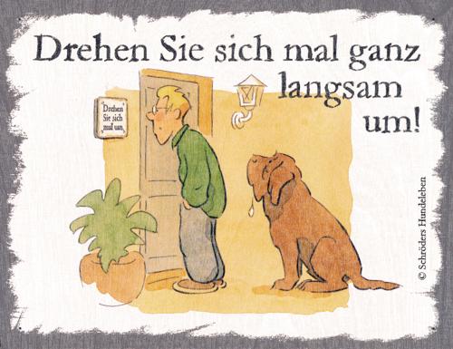 humorvolles Hunde-Motiv, auf Holz gedruckt